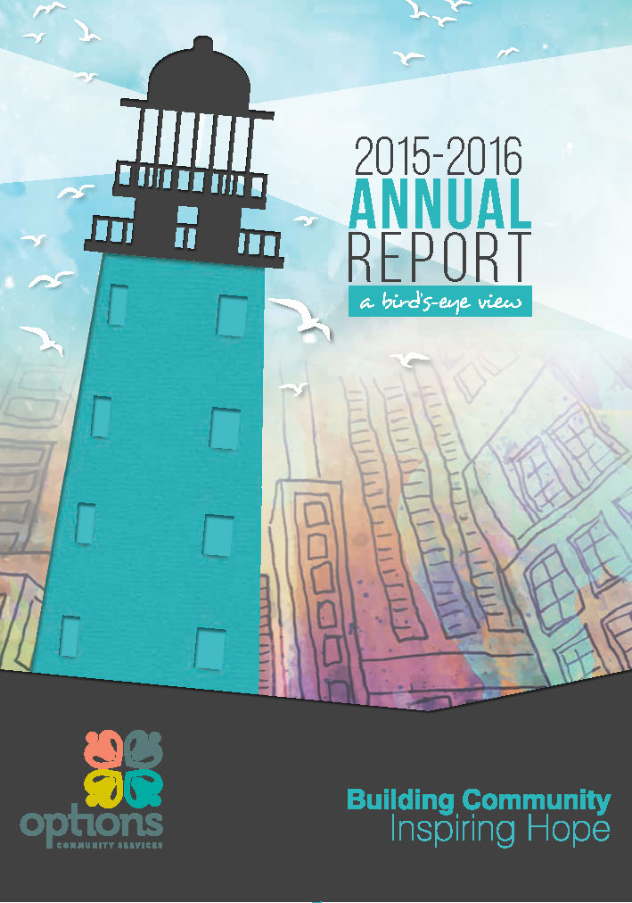 2014-15 Aannual report cover with a lighthouse in the foreground and a city scape in the background