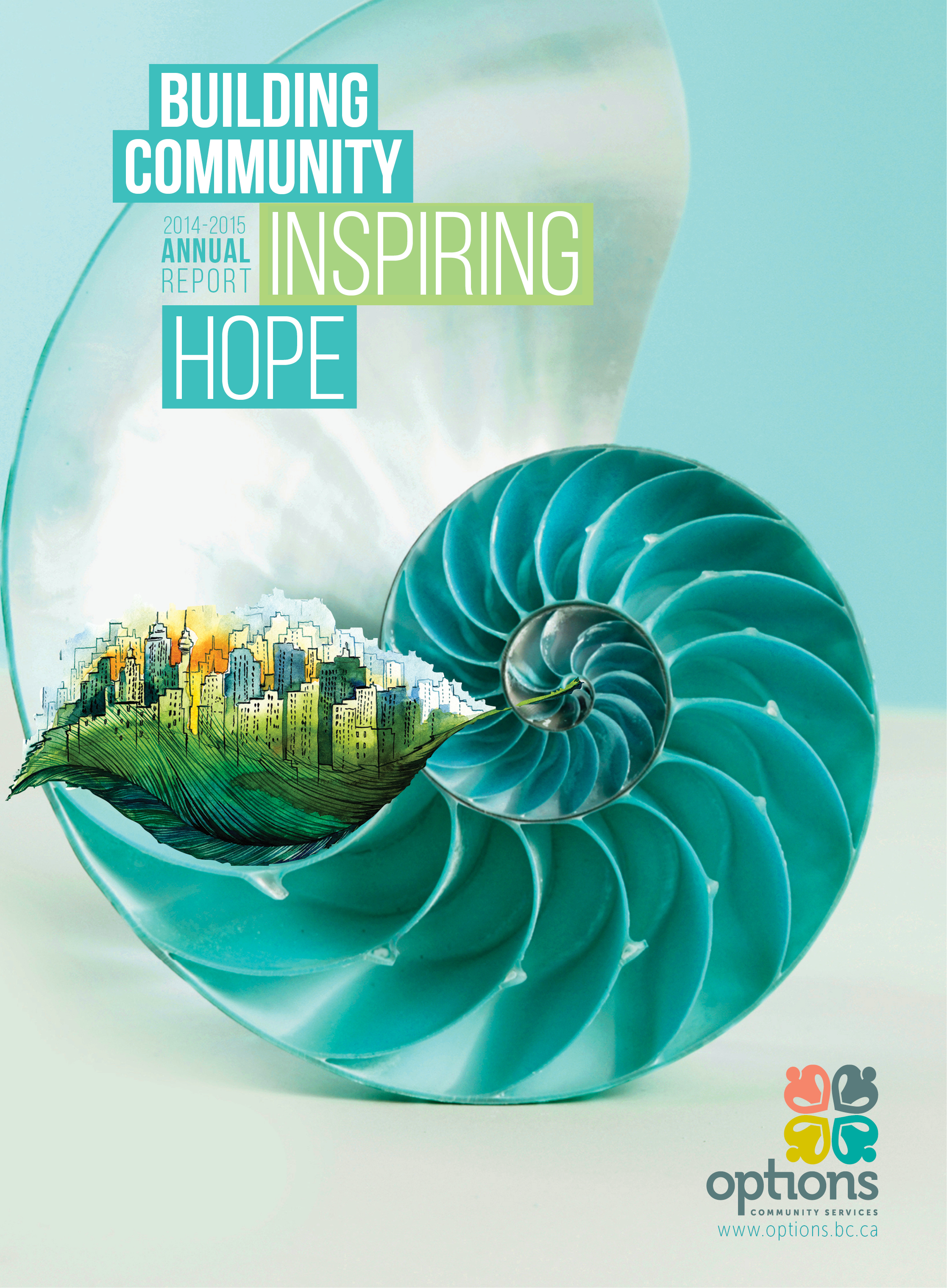 2014-15 Annual report cover showing a city scape insite a nautilus shell